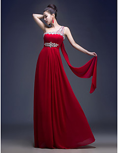 Formal Evening Dress - Plus Size A-line One Shoulder Floor-length Georgette