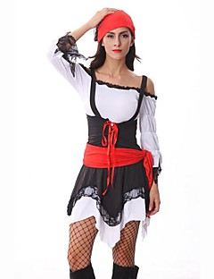 Cosplay Costumes / Party Costume Pirate Festival/Holiday Halloween Costumes Red/Black Patchwork Dress / Headpiece / Belt Halloween Female