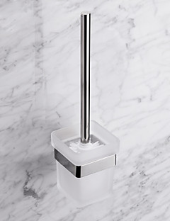 Contemporary Quadrate Stainless Steel Toilet Brush Holder