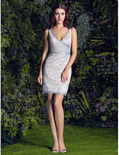 LAN TING BRIDE Short / Mini Lace Bridesmaid Dress - Sheath / Column V-neck Plus Size / Petite