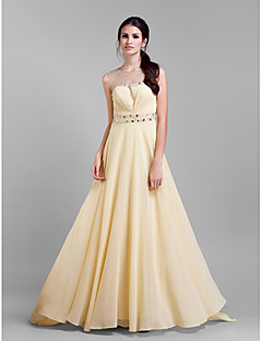 TS Couture Formal Evening / Prom / Military Ball Dress - Champagne Plus Sizes / Petite Sheath/Column Jewel Court Train Chiffon