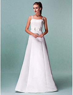 Lanting Bride A-line / Princess Petite / Plus Sizes Wedding Dress-Floor-length Straps Satin