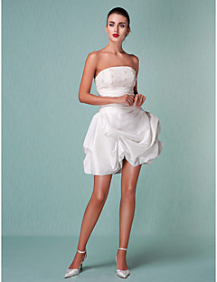 Ball Gown Plus Sizes Wedding Dress - Ivory Short/Mini Strapless Taffeta