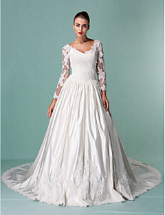 Ball Gown Plus Sizes Wedding Dress - Ivory Chapel Train V-neck Satin/Tulle