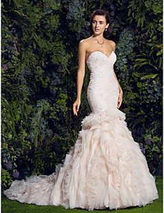 Lan Ting Fit & Flare Wedding Dress - Pearl Pink Court Train Sweetheart Tulle