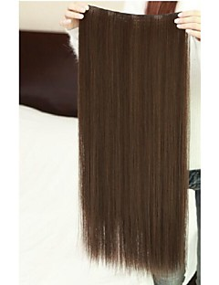Dark Brown Clip In Hair Extension Thick Synthetic Hair 22Inch For Women