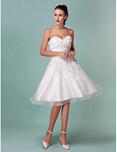 Lanting A-line/Princess Plus Sizes Wedding Dress - Ivory Knee-length Sweetheart Satin/Organza