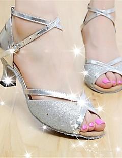 Customizable Women's Dance Shoes Latin Paillette Customized Heel Black