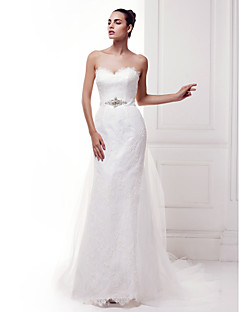 Lanting Sheath/Column Sweetheart Lace Court Train Wedding Dress