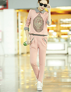 OFEI European Fashion Causal Sports Check Floral Print Hoodie Shirt Suit