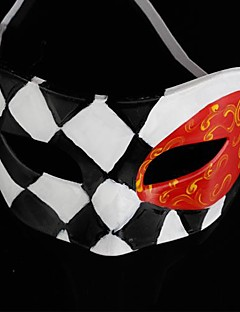 Back-to-ancient Jazz Black and White Diamond Lattice PS Half Face Halloween Party Mask
