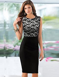 שמלת העיפרון שחור שחבור תחרה של דולצ'ה נשים