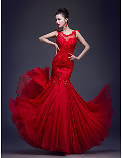 Formal Evening Dress - Ruby Trumpet/Mermaid Scoop Floor-length Chiffon / Lace