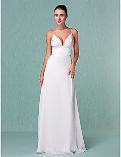 Lanting Sheath/Column Plus Sizes Wedding Dress - Ivory Floor-length V-neck Chiffon