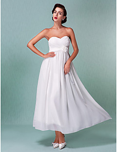 Lanting Sheath/Column Plus Sizes Wedding Dress - Ivory Ankle-length Sweetheart Chiffon