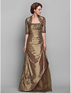 Lanting A-line Plus Sizes / Petite Mother of the Bride Dress - Brown Floor-length Half Sleeve Taffeta / Lace