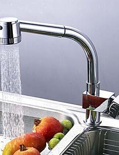 Contemporain Pull-out / Pull-down Montage Avec spray démontable with  Soupape céramique Mitigeur un trou for  Chrome , Robinet de Cuisine