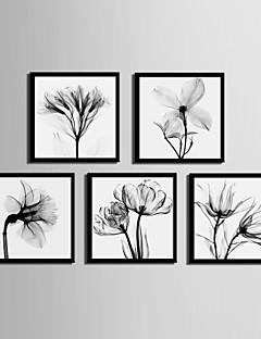 Floral/Botanic Pânză Înrămată Set Înrămat Wall Art,PVC Material Negru Fără Rogojină cu Frame For Pagina de decorare cadru Art