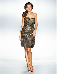TS Couture® Cocktail Party / Holiday / Prom Dress - Brown Plus Sizes / Petite A-line / Princess Sweetheart Knee-length Sequined