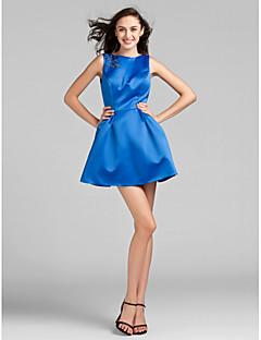 Robe de Demoiselle d'Honneur - Bleu royal Mode de bal Col ras du cou Longueur mi cuisse Satin Grandes tailles
