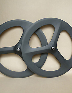 YANBO 700C 3 spoke carbon wheels 70mm wide 19mm clincher for Track Bike/Bicycle wheelset(1 Pair)