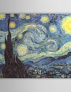 Hand-painted Oil Painting A Starry Night by Vincent Van Gogh with Stretched Frame
