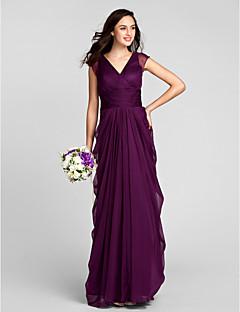 Lanting Bride® Longo Chiffon Vestido de Madrinha - Tubinho Decote V Tamanhos Grandes / Mignon com Faixa / Fita / Franzido
