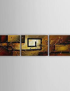 Handgeschilderde Abstract Horizontaal Panoramisch Drie panelen Canvas Hang-geschilderd olieverfschilderij For Huisdecoratie