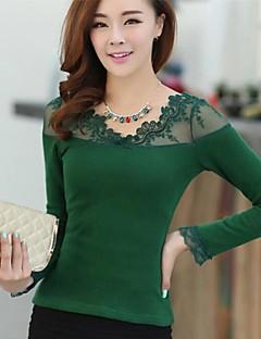 Vrouwen Lente / Herfst / Winter Overhemd / T-shirt Lange mouw Wit / Zwart / Groen Overige Medium