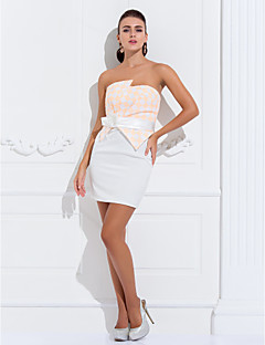 Dress - Ivory Plus Sizes A-line/Princess Strapless Knee-length Lace/Satin