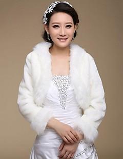 Fur Wraps / Wedding  Wraps Coats/Jackets Long Sleeve Faux Fur White Wedding / Party/Evening Open Front