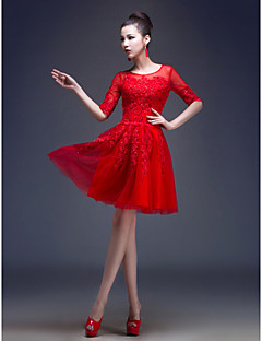 Homecoming Cocktail Party Dress - Ruby A-line/Princess Jewel Knee-length Tulle