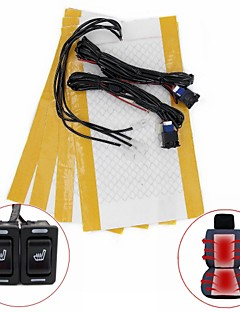 Rectangle Hi-Off-Lo Switch Carbon Fiber Seat Heater Kit for All Type Cars(Two Seat Install)