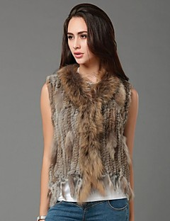 Women Rabbit Fur/Raccoon Fur Top , Hoodie/Without Lining