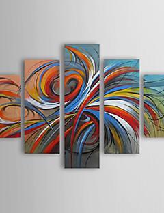 유화가 응답 할 준비가 다섯 현대 추상 다채로운 원 손으로 그린 캔버스 세트