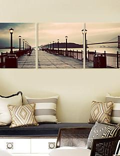 Leinwand Kunst Landschaft auf der Brücke Set von 3
