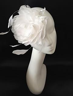 hvid brude fjer hår fascinator