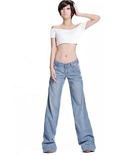 moda ocasional soltas de jeans perna larga das mulheres
