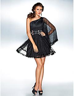 TS Couture Cocktail Party / Holiday Dress - Black Plus Sizes / Petite A-line / Princess One Shoulder Short/Mini Lace