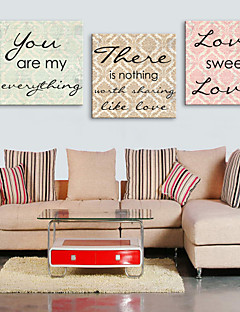 Stretched Canvas Print Art Words Sweet Love Set of 3