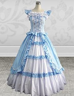 ermeløs fotsid himmelen blå bomull silke Gothic Lolita kjole