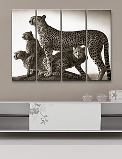 étiré toile art décoratif léopard ensemble de quatre de peinture