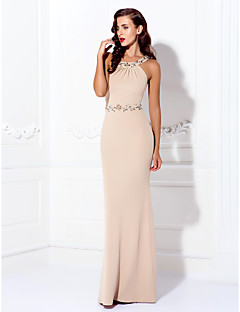 Sheath / Column Jewel Neck Floor Length Jersey Prom Dress with Beading by TS Couture®
