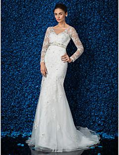 Vestido de Boda - Marfil Corte Sirena Barrida - Escote en V Encaje/Tul Tallas Grandes