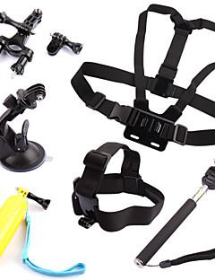 6 i 1 sæt bryst + hoved strop + flydende greb + styr sadelpind + monopod + sugekop til GoPro hero 1 2 3 3+