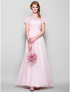 Floor-length Chiffon Bridesmaid Dress - Blushing Pink Plus Sizes / Petite Sheath/Column Bateau