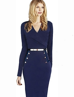 Women's Work Sheath Dress,Solid V Neck / Notch Lapel Knee-length Long Sleeve Blue Spring / Fall