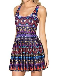 vrouwen diepe u mini jurk, spandex / polyester multi-color ongedwongen / afdrukken