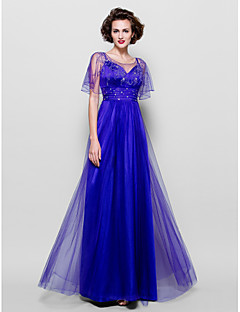 A-line Plus Size / Petite Mother of the Bride Dress - Floor-length Short Sleeve Tulle