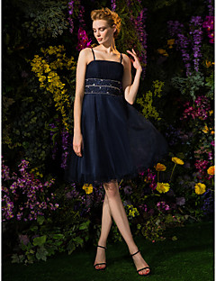 thuiskomst cocktail party dress - dark navy a-lijn spaghettibandjes knielange tule